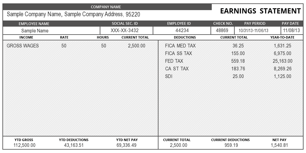 sample of Pay Stub Information – Payroll Stubs Templates